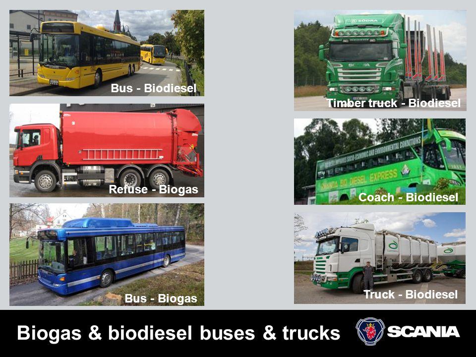 Biogas & biodiesel buses & trucks Bus - Biodiesel Bus - Biogas Refuse - Biogas Coach - Biodiesel Timber truck - Biodiesel Truck - Biodiesel