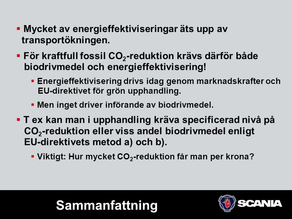  Mycket av energieffektiviseringar äts upp av transportökningen.  För kraftfull fossil CO 2 -reduktion krävs därför både biodrivmedel och energieffe