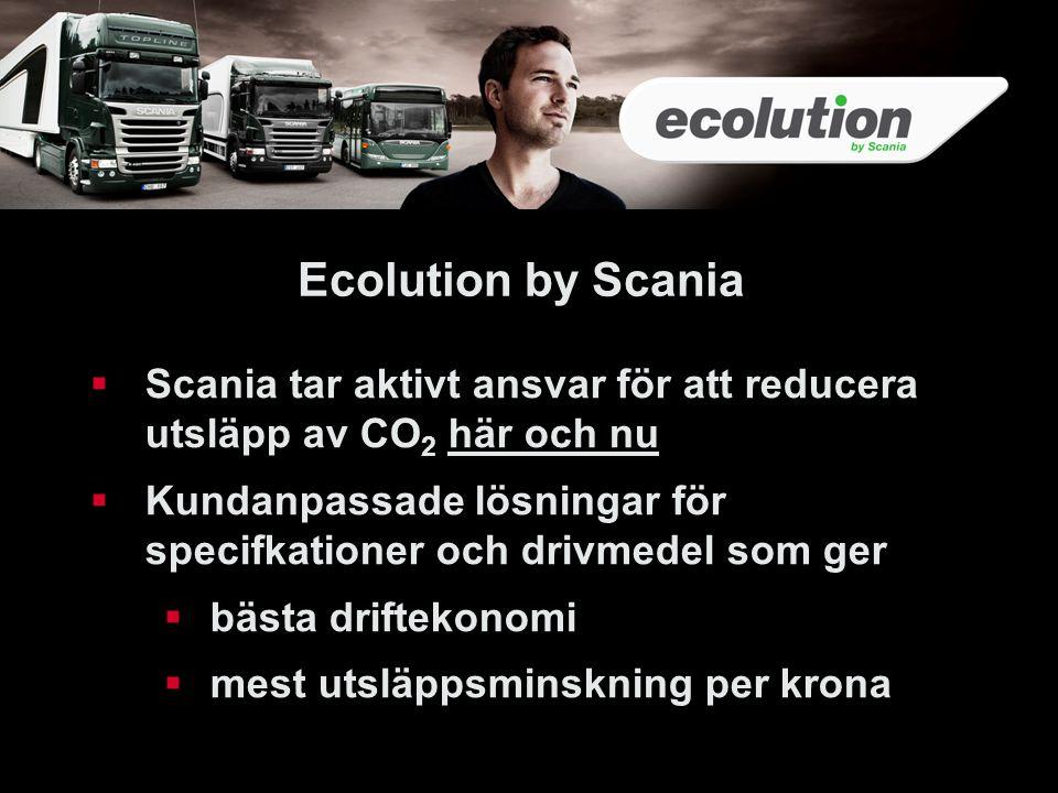 34 Ecolution by Scania  Scania tar aktivt ansvar för att reducera utsläpp av CO 2 här och nu  Kundanpassade lösningar för specifkationer och drivmed
