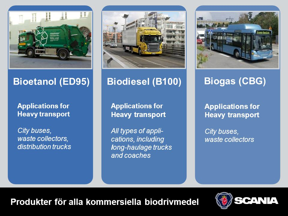 Applications for Heavy transport City buses, waste collectors, distribution trucks Bioetanol (ED95)Biodiesel (B100) Biogas (CBG) Applications for Heav