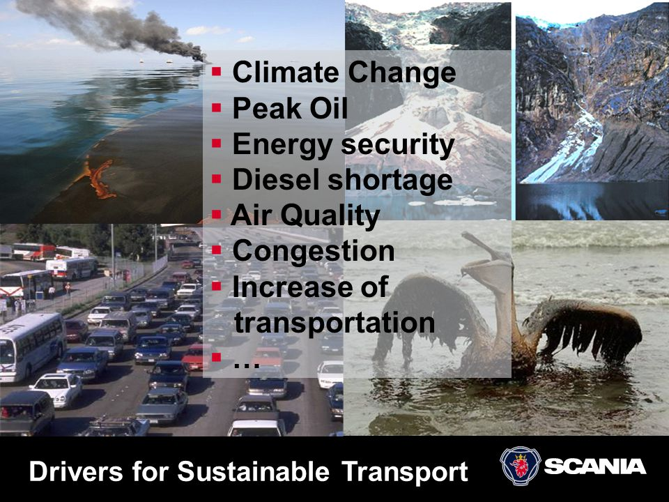 Drivers for Sustainable Transport  Climate Change  Peak Oil  Energy security  Diesel shortage  Air Quality  Congestion  Increase of transportat