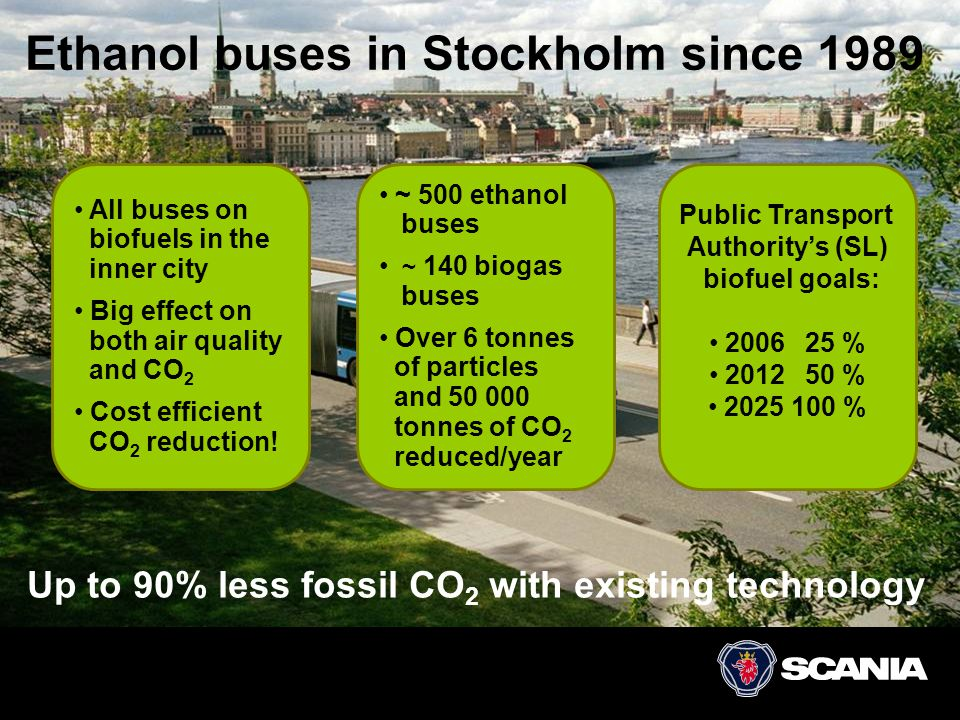 Ethanol buses in Stockholm since 1989 Up to 90% less fossil CO 2 with existing technology • All buses on biofuels in the inner city • Big effect on bo