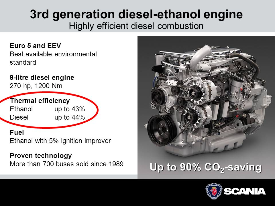 3rd generation diesel-ethanol engine Highly efficient diesel combustion Euro 5 and EEV Best available environmental standard 9-litre diesel engine 270 hp, 1200 Nm Thermal efficiency Ethanolup to 43% Dieselup to 44% Fuel Ethanol with 5% ignition improver Proven technology More than 700 buses sold since 1989 Up to 90% CO 2 -saving