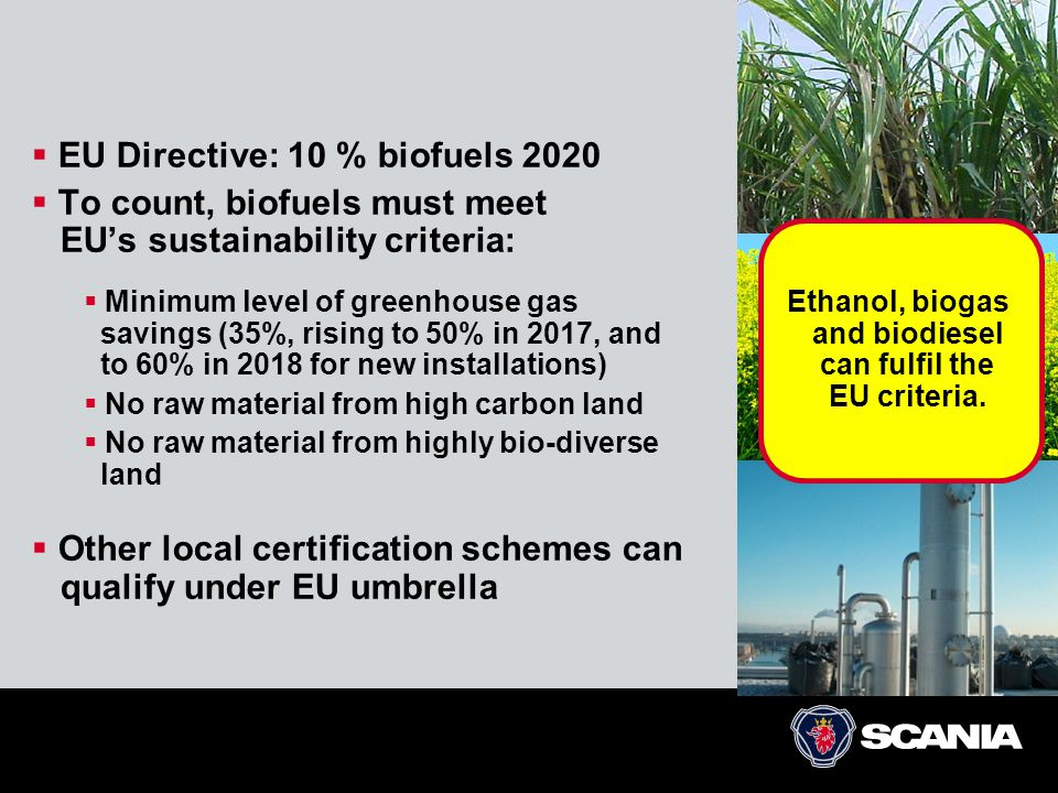  EU Directive: 10 % biofuels 2020  To count, biofuels must meet EU's sustainability criteria:  Minimum level of greenhouse gas savings (35%, rising to 50% in 2017, and to 60% in 2018 for new installations)  No raw material from high carbon land  No raw material from highly bio-diverse land  Other local certification schemes can qualify under EU umbrella Ethanol, biogas and biodiesel can fulfil the EU criteria.