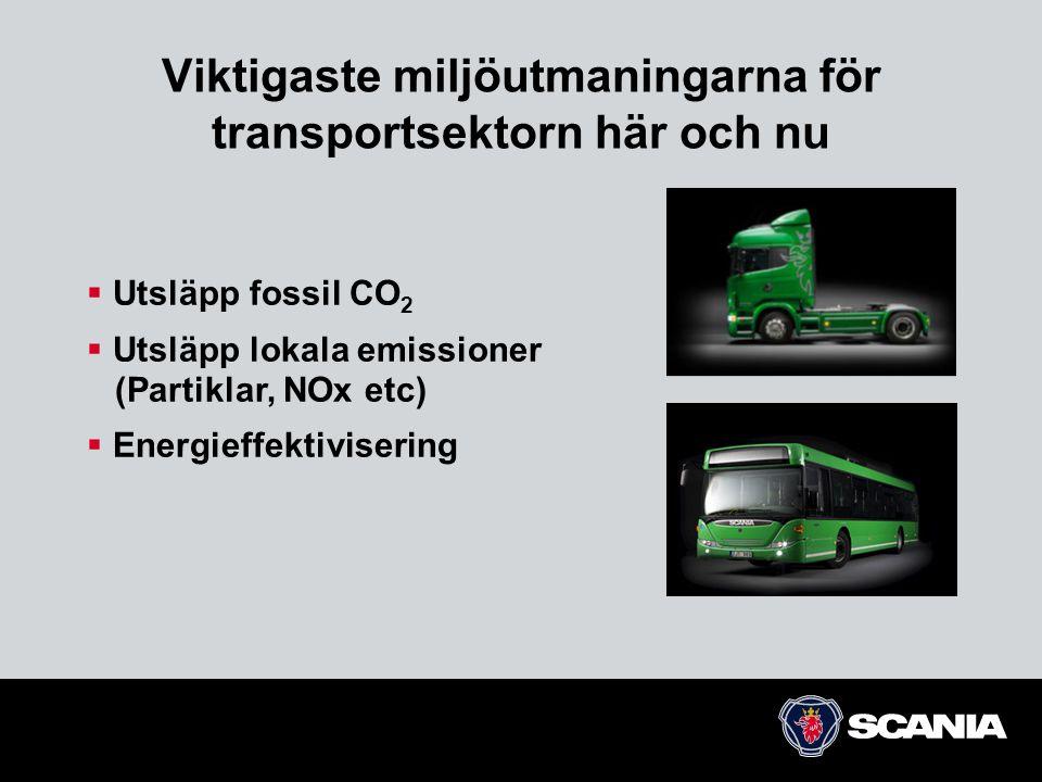 Viktigaste miljöutmaningarna för transportsektorn här och nu  Utsläpp fossil CO 2  Utsläpp lokala emissioner (Partiklar, NOx etc)  Energieffektivis
