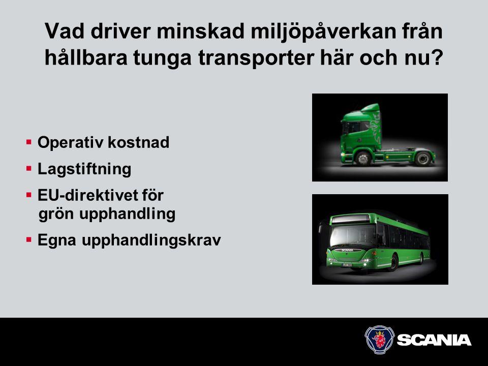Vad driver minskad miljöpåverkan från hållbara tunga transporter här och nu?  Operativ kostnad  Lagstiftning  EU-direktivet för grön upphandling 