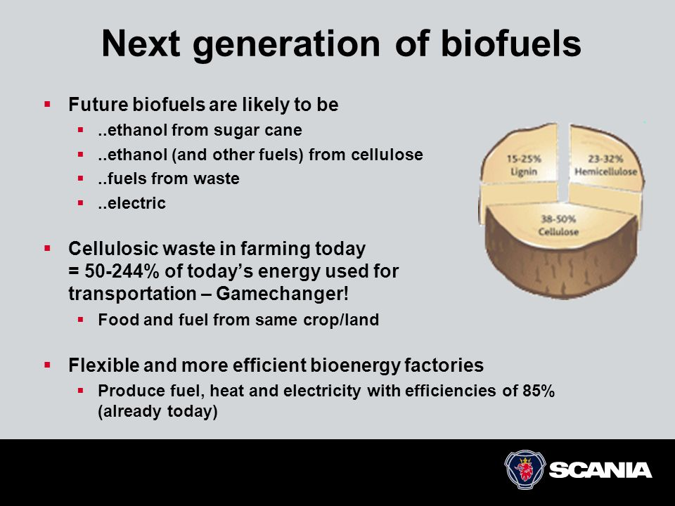 Next generation of biofuels  Future biofuels are likely to be ..ethanol from sugar cane ..ethanol (and other fuels) from cellulose ..fuels from waste ..electric  Cellulosic waste in farming today = 50-244% of today's energy used for transportation – Gamechanger.