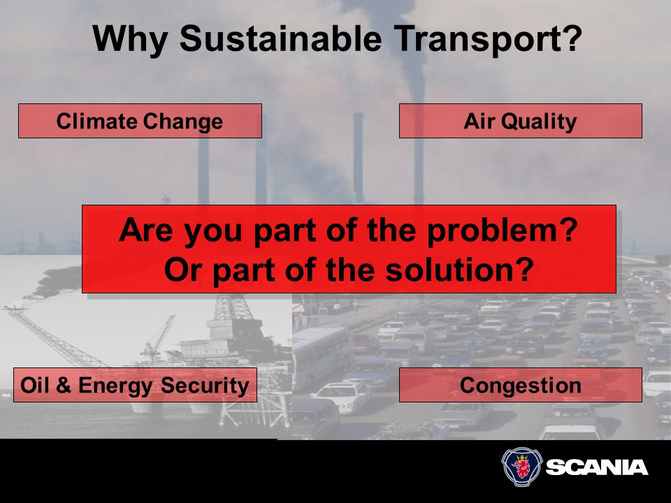 Why Sustainable Transport? Are you part of the problem? Or part of the solution? Climate ChangeAir Quality CongestionOil & Energy Security