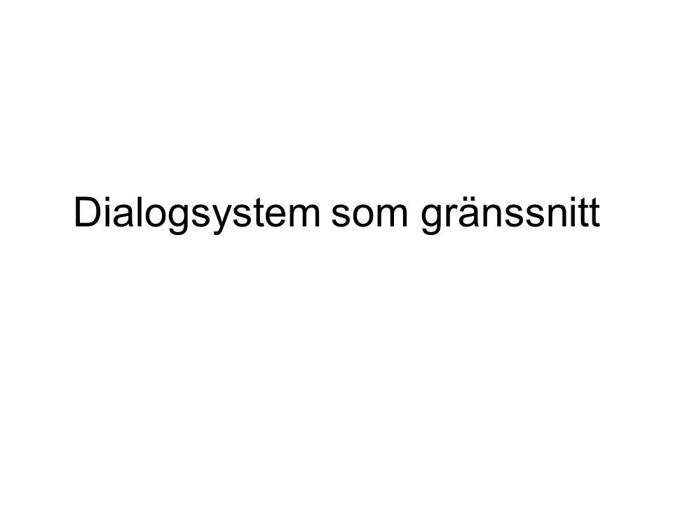 Översikt •Dialogsystem som gränssnitt •Dialogmodellering •Agenter och dialog •TrindiKit och informationstillstånd •Ett exempel: BeadieEye •Frågebasera