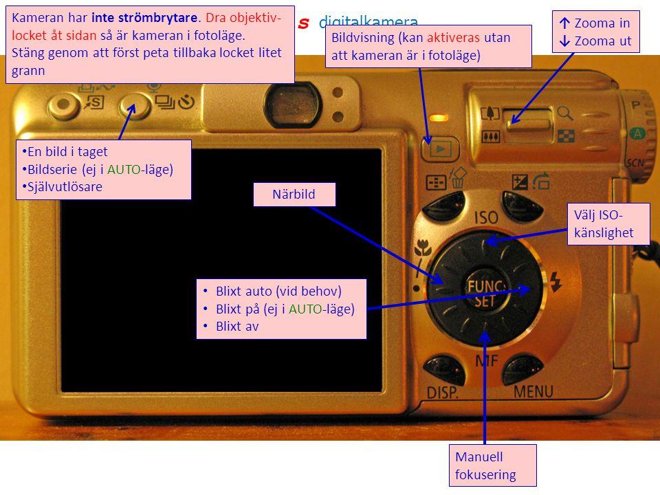 senITels digitalkamera • En bild i taget • Bildserie (ej i AUTO-läge) • Självutlösare Bildvisning (kan aktiveras utan att kameran är i fotoläge) ↑ Zooma in ↓ Zooma ut Manuell fokusering • Blixt auto (vid behov) • Blixt på (ej i AUTO-läge) • Blixt av Närbild Välj ISO- känslighet Kameran har inte strömbrytare.