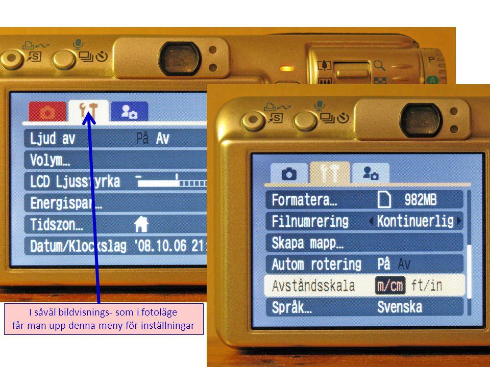 Även denna meny för val av vyer på skärmen och ljud finns i såväl bildvisnings- som i fotoläge