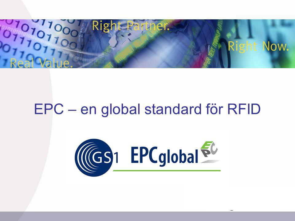 INSERT GRAPHIC SQUARE HERE 12 Fördelar med EPCglobal ●Ökad effektivitet genom synlighet i supply chain.