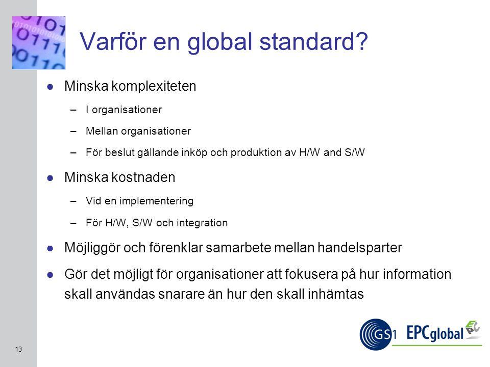 INSERT GRAPHIC SQUARE HERE 13 Varför en global standard? ●Minska komplexiteten –I organisationer –Mellan organisationer –För beslut gällande inköp och