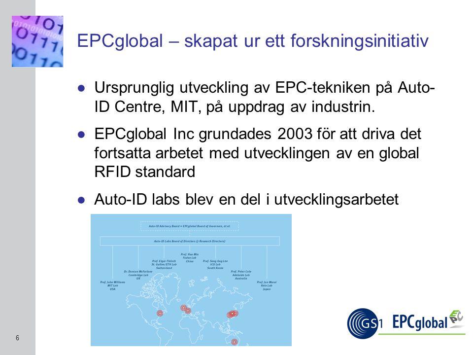 INSERT GRAPHIC SQUARE HERE 6 EPCglobal – skapat ur ett forskningsinitiativ ●Ursprunglig utveckling av EPC-tekniken på Auto- ID Centre, MIT, på uppdrag av industrin.