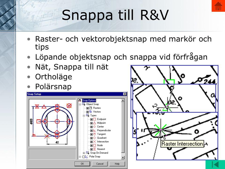 Snappa till R&V •Raster- och vektorobjektsnap med markör och tips •Löpande objektsnap och snappa vid förfrågan •Nät, Snappa till nät •Ortholäge •Polärsnap