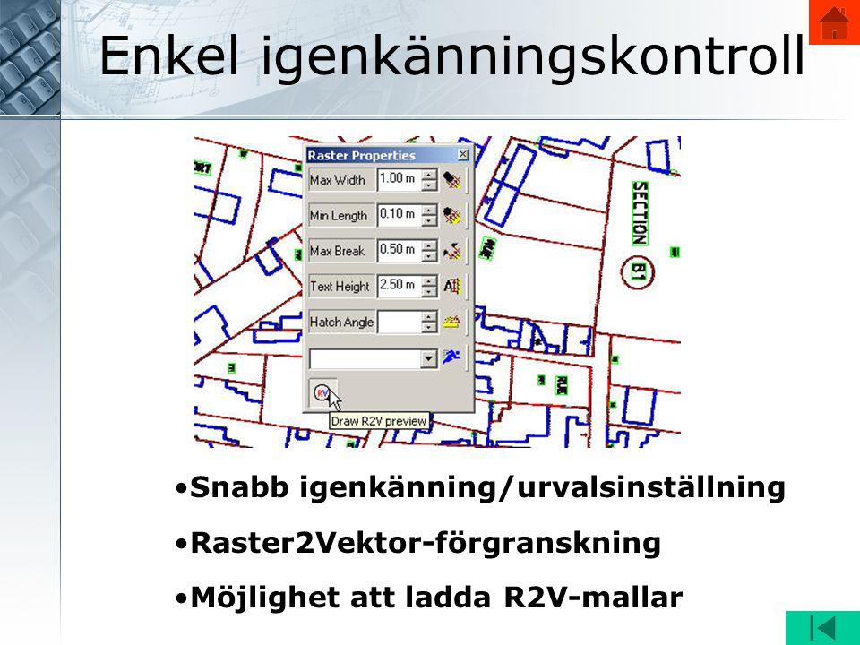 Enkel igenkänningskontroll •Snabb igenkänning/urvalsinställning •Raster2Vektor-förgranskning •Möjlighet att ladda R2V-mallar