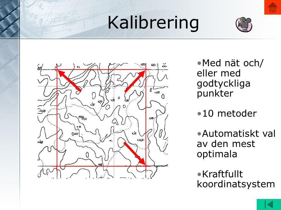 •Med nät och/ eller med godtyckliga punkter •10 metoder •Automatiskt val av den mest optimala •Kraftfullt koordinatsystem Kalibrering