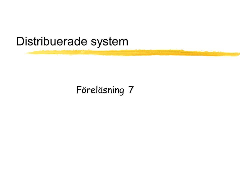 OS Föreläsning 7, Distribuerade system 32 Falsk delning -false sharing  Uppstår när två CPUer vill skriva till två olika variabler som råkar ligga på samma sida/samma cache linje  Vanligare vid större sidor/cache linjer  Egentligen borde det inte hända ty CPUerna delade inga data  Händer till viss del i alla cachar i multiprocessorer