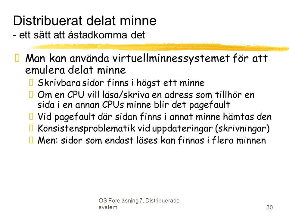 OS Föreläsning 7, Distribuerade system 30 Distribuerat delat minne - ett sätt att åstadkomma det  Man kan använda virtuellminnessystemet för att emul
