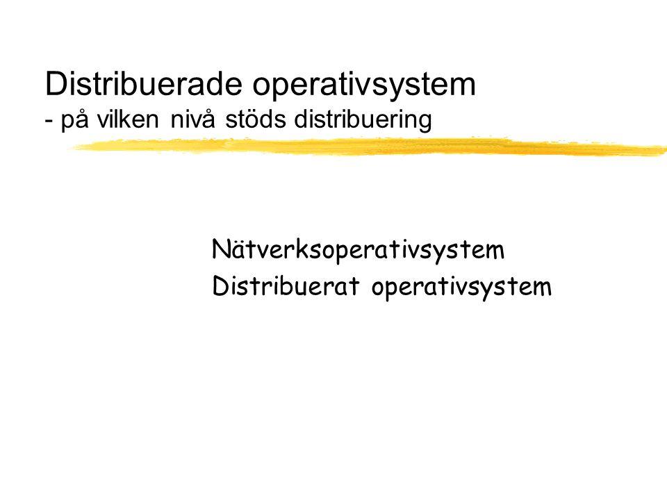 Distribuerade operativsystem - på vilken nivå stöds distribuering Nätverksoperativsystem Distribuerat operativsystem