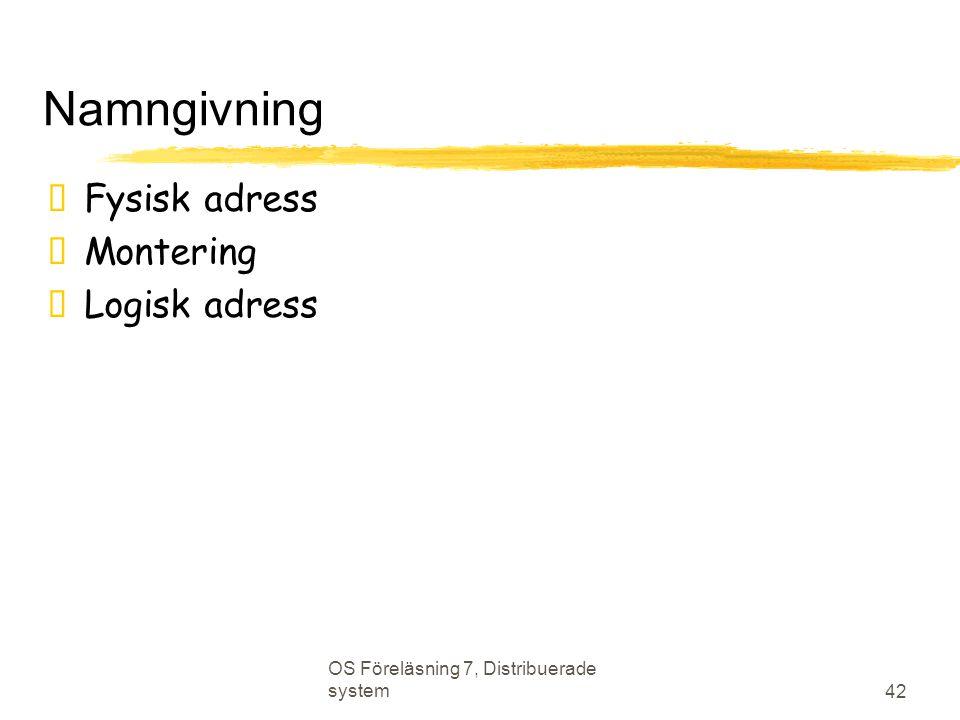 OS Föreläsning 7, Distribuerade system 42 Namngivning  Fysisk adress  Montering  Logisk adress
