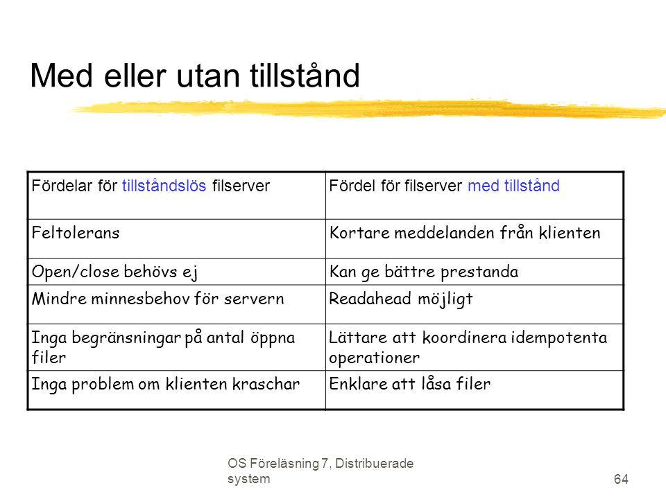 OS Föreläsning 7, Distribuerade system 64 Med eller utan tillstånd Fördelar för tillståndslös filserverFördel för filserver med tillstånd FeltoleransK