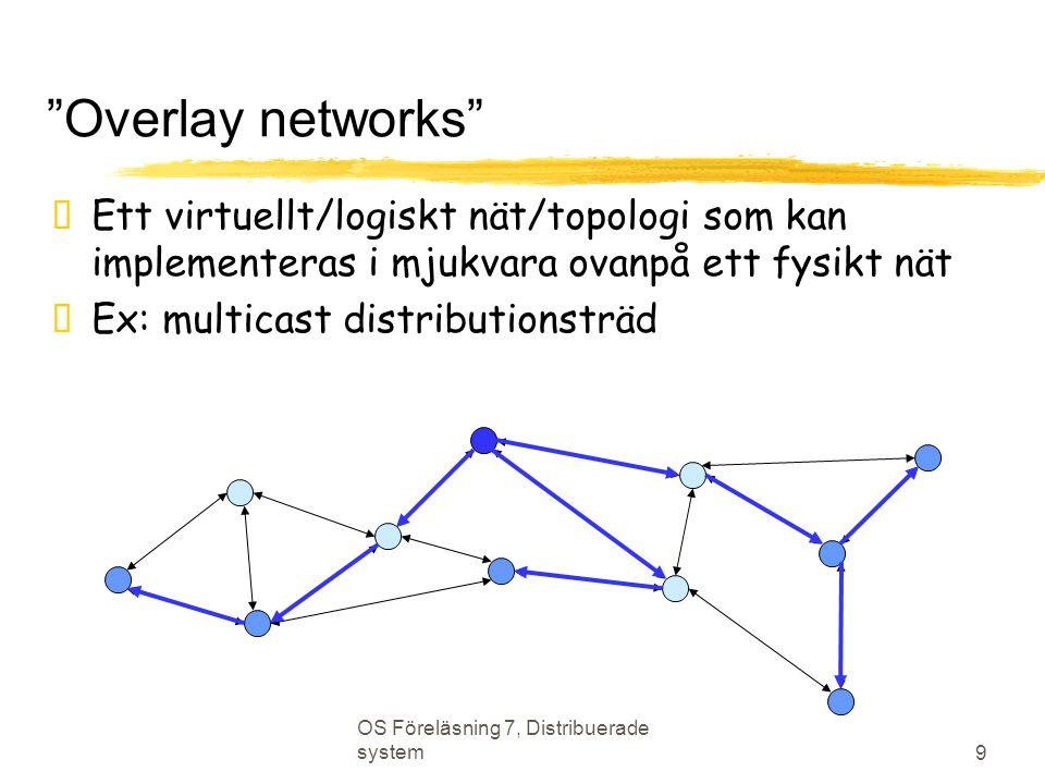 OS Föreläsning 7, Distribuerade system 9 Overlay networks  Ett virtuellt/logiskt nät/topologi som kan implementeras i mjukvara ovanpå ett fysikt nät  Ex: multicast distributionsträd