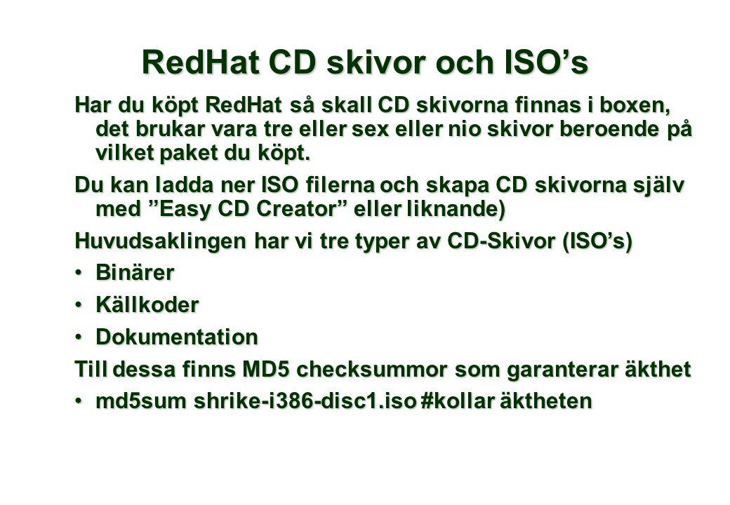 Har du köpt RedHat så skall CD skivorna finnas i boxen, det brukar vara tre eller sex eller nio skivor beroende på vilket paket du köpt. Du kan ladda