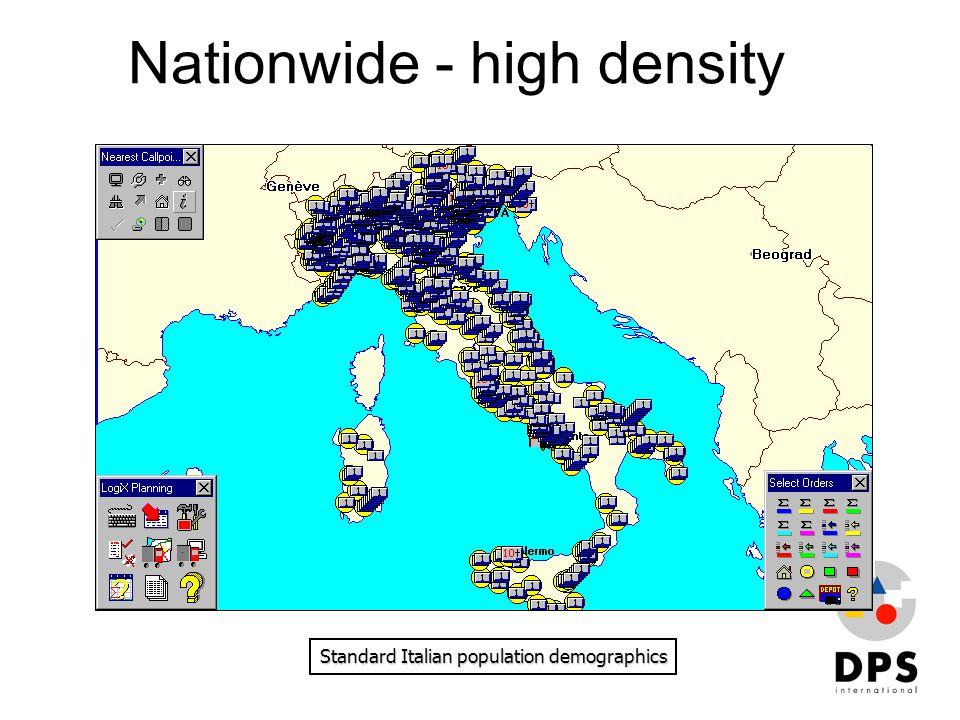 Nationwide - high density Standard Italian population demographics