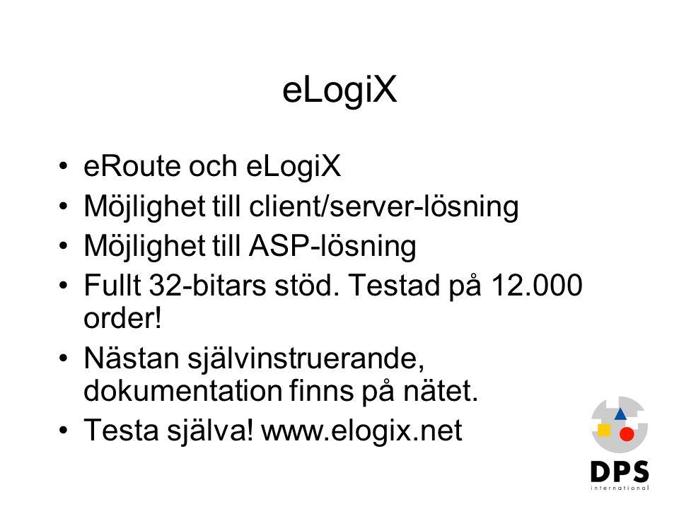 eLogiX •eRoute och eLogiX •Möjlighet till client/server-lösning •Möjlighet till ASP-lösning •Fullt 32-bitars stöd. Testad på 12.000 order! •Nästan sjä