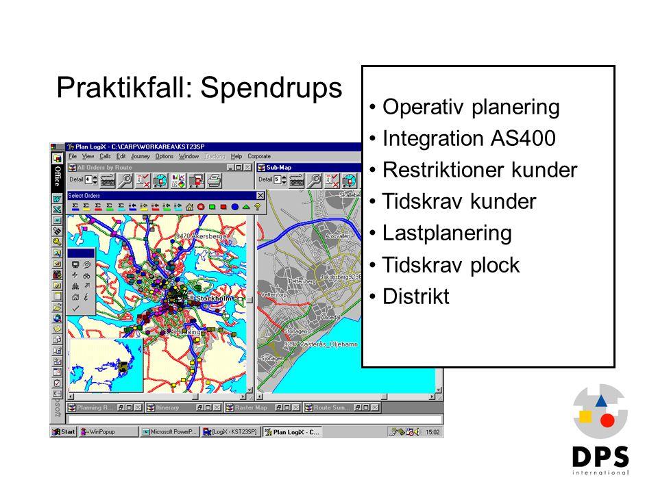 Praktikfall: Spendrups • Operativ planering • Integration AS400 • Restriktioner kunder • Tidskrav kunder • Lastplanering • Tidskrav plock • Distrikt
