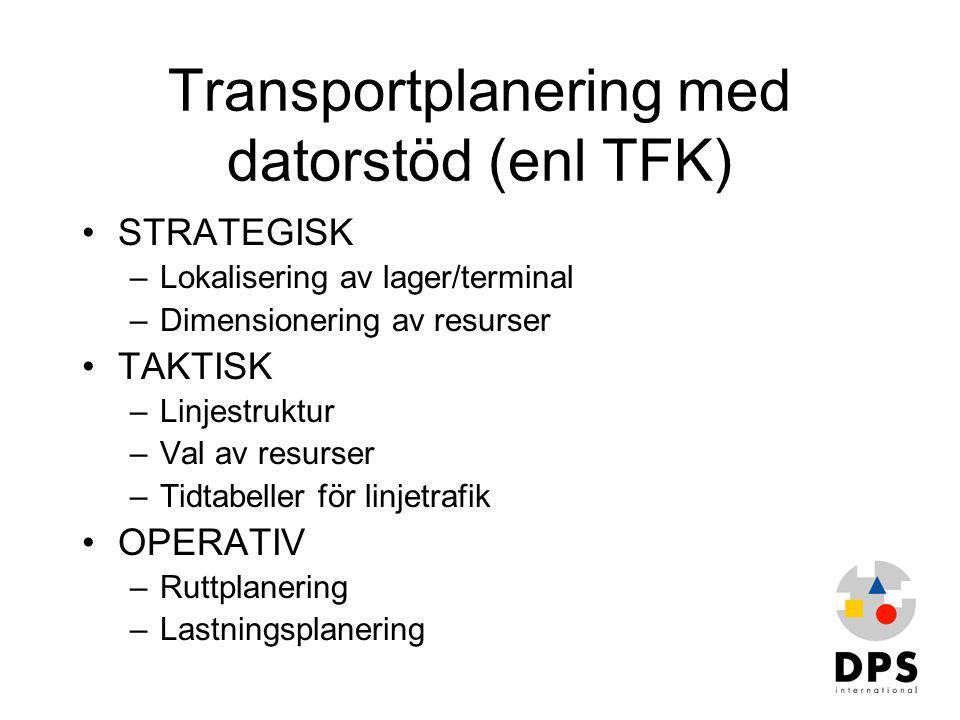 Transportplanering med datorstöd (enl TFK) •STRATEGISK –Lokalisering av lager/terminal –Dimensionering av resurser •TAKTISK –Linjestruktur –Val av res