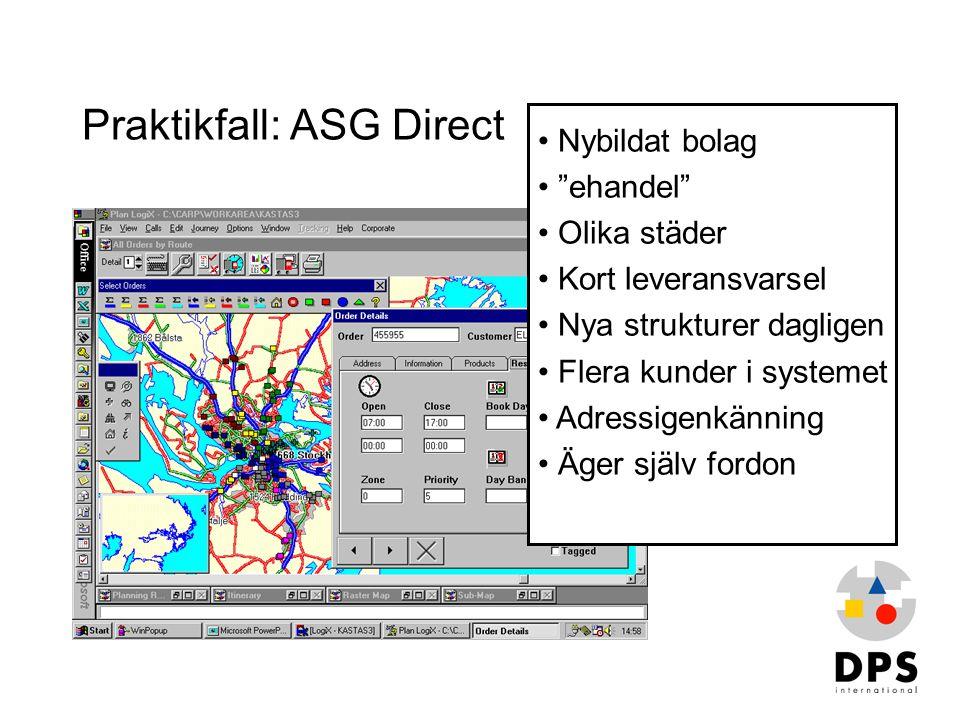 """Praktikfall: ASG Direct • Nybildat bolag • """"ehandel"""" • Olika städer • Kort leveransvarsel • Nya strukturer dagligen • Flera kunder i systemet • Adress"""