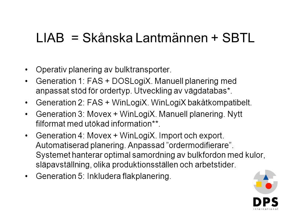 LIAB = Skånska Lantmännen + SBTL •Operativ planering av bulktransporter. •Generation 1: FAS + DOSLogiX. Manuell planering med anpassat stöd för ordert