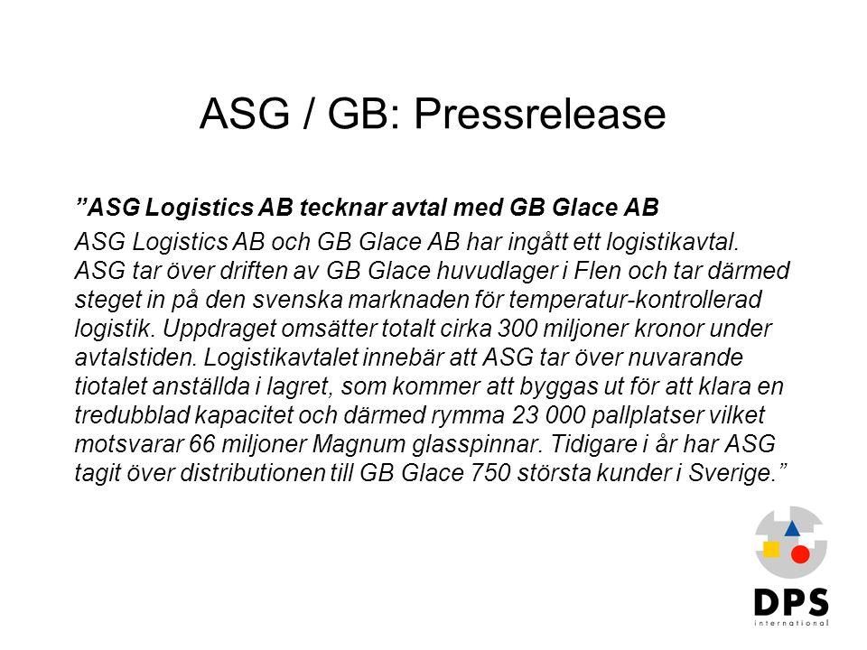 "ASG / GB: Pressrelease ""ASG Logistics AB tecknar avtal med GB Glace AB ASG Logistics AB och GB Glace AB har ingått ett logistikavtal. ASG tar över dri"