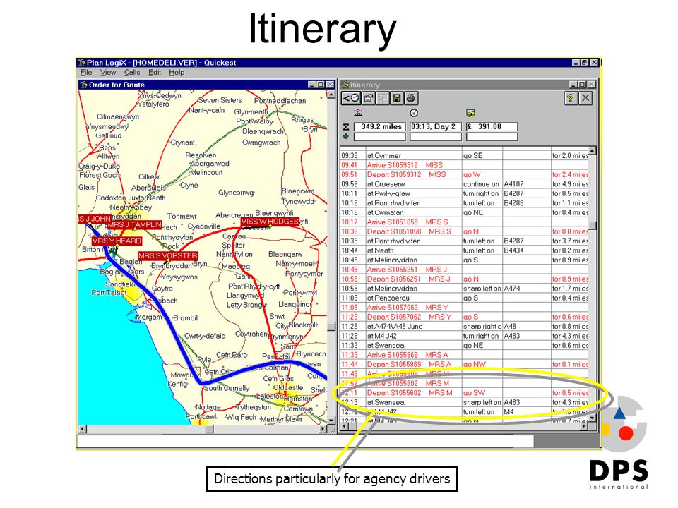 Itinerary Directions particularly for agency drivers