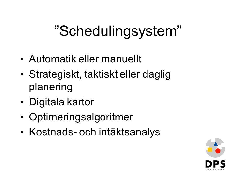 """""""Schedulingsystem"""" •Automatik eller manuellt •Strategiskt, taktiskt eller daglig planering •Digitala kartor •Optimeringsalgoritmer •Kostnads- och intä"""