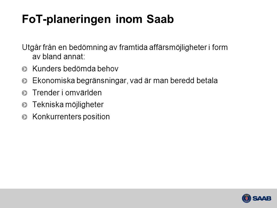 FoT-planeringen inom Saab Utgår från en bedömning av framtida affärsmöjligheter i form av bland annat: Kunders bedömda behov Ekonomiska begränsningar, vad är man beredd betala Trender i omvärlden Tekniska möjligheter Konkurrenters position