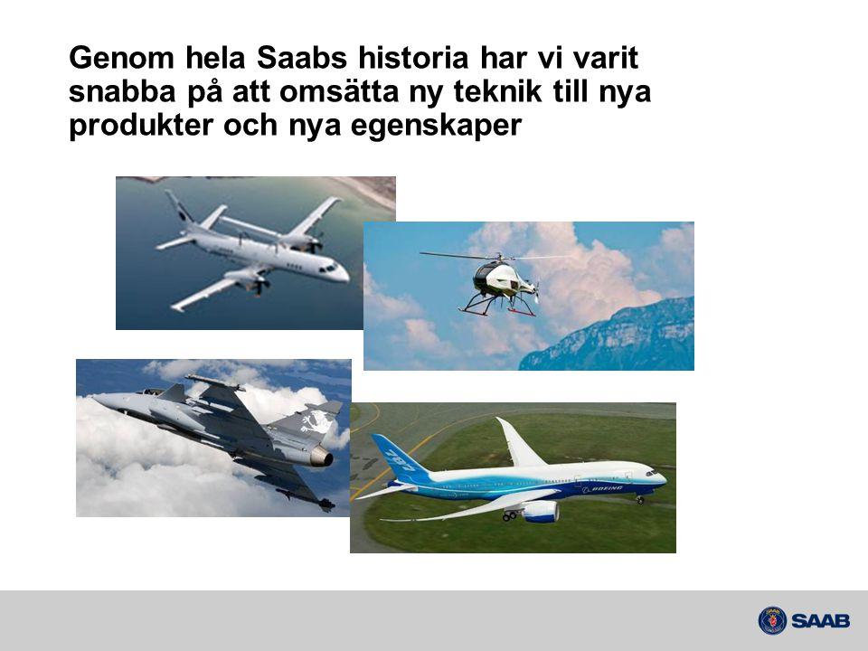 Genom hela Saabs historia har vi varit snabba på att omsätta ny teknik till nya produkter och nya egenskaper
