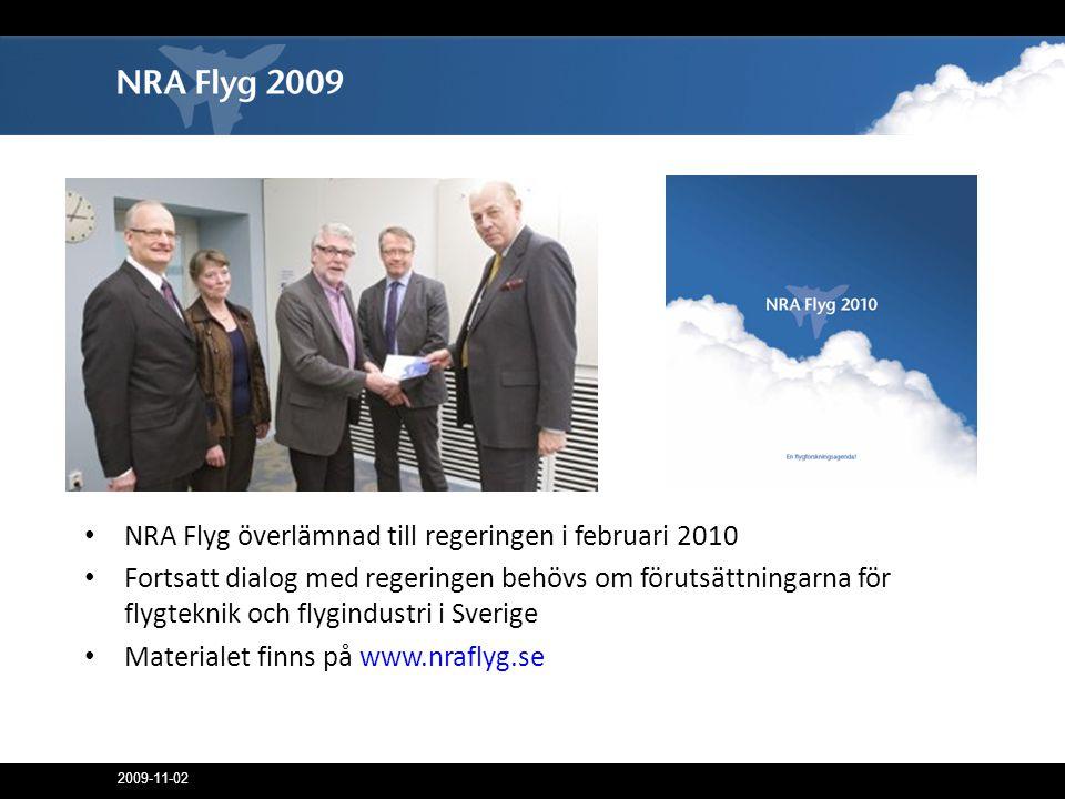 2009-11-02 • NRA Flyg överlämnad till regeringen i februari 2010 • Fortsatt dialog med regeringen behövs om förutsättningarna för flygteknik och flygindustri i Sverige • Materialet finns på www.nraflyg.se