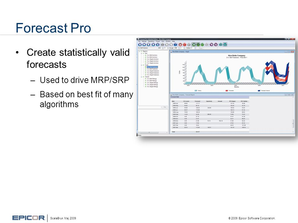 Forecast Pro •Create statistically valid forecasts –Used to drive MRP/SRP –Based on best fit of many algorithms ScalaBruk Maj 2009 © 2009 Epicor Software Corporation.