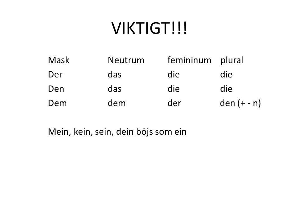 VIKTIGT!!! MaskNeutrumfemininum plural Derdasdie die Dendasdie die Dem demder den (+ - n) Mein, kein, sein, dein böjs som ein