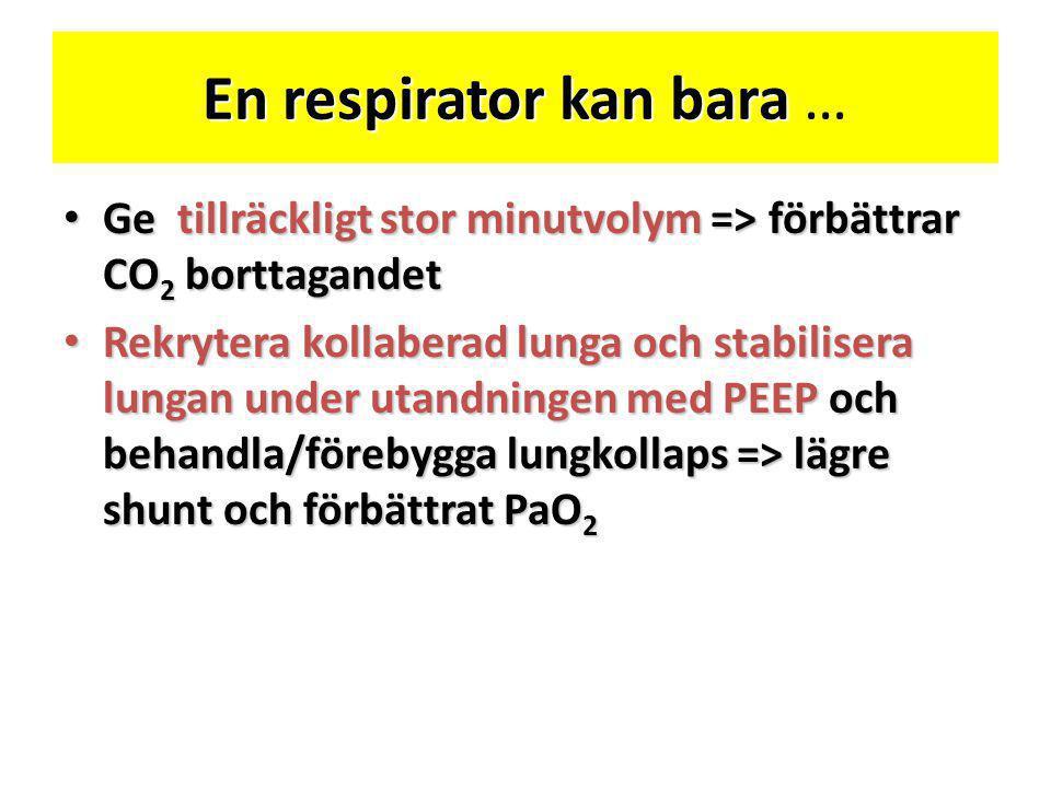 En respirator kan bara En respirator kan bara … • Ge tillräckligt stor minutvolym => förbättrar CO 2 borttagandet • Rekrytera kollaberad lunga och sta