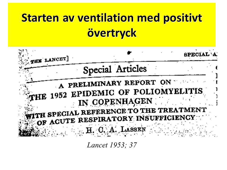 Lancet 1953; 37 Starten av ventilation med positivt övertryck