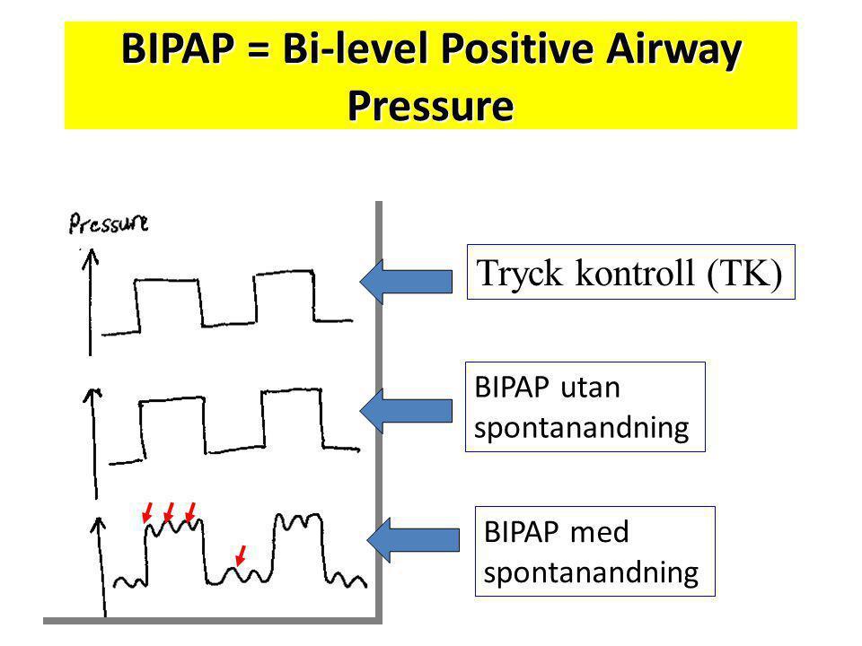 BIPAP = Bi-level Positive Airway Pressure Tryck kontroll (TK) BIPAP utan spontanandning BIPAP med spontanandning