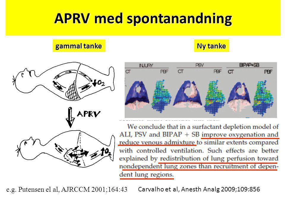APRV med spontanandning e.g. Putensen el al, AJRCCM 2001;164:43 gammal tanke Ny tanke Carvalho et al, Anesth Analg 2009;109:856