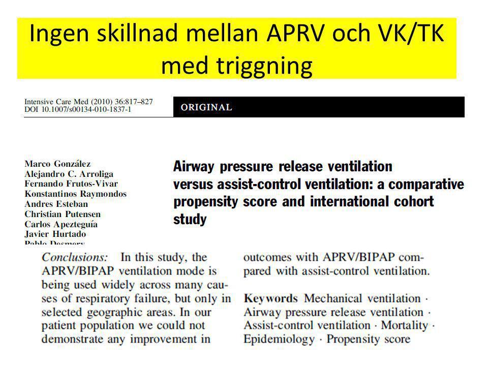 Ingen skillnad mellan APRV och VK/TK med triggning