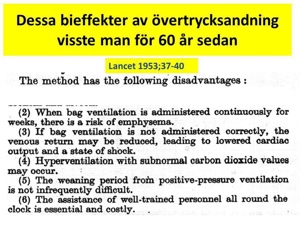 Dessa bieffekter av övertrycksandning visste man för 60 år sedan Lancet 1953;37-40