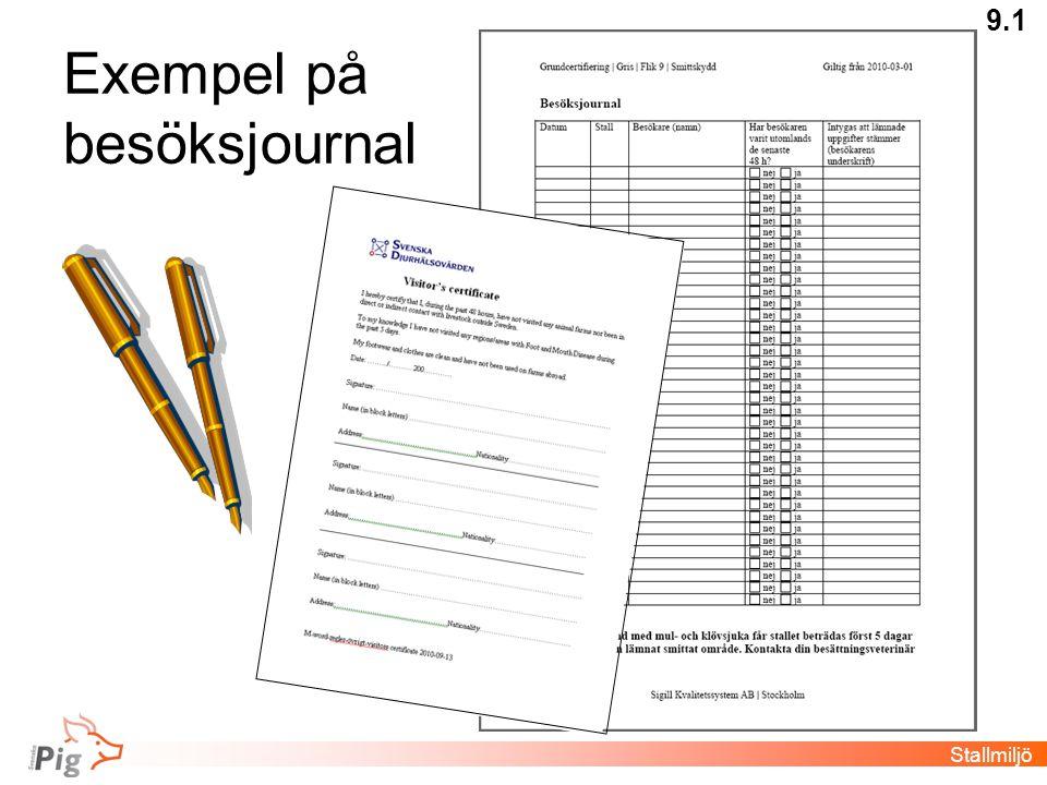 Exempel på besöksjournal Stallmiljö 9.1