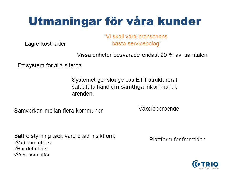 Utmaningar för våra kunder Systemet ger ska ge oss ETT strukturerat sätt att ta hand om samtliga inkommande ärenden. Lägre kostnader Plattform för fra